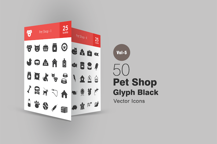 Thumbnail for 50 Pet Shop Glyph Icons