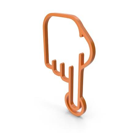 Icono naranja de un dedo
