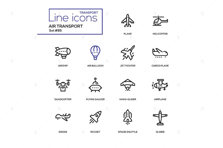 Thumbnail for Air transport - line design icons set