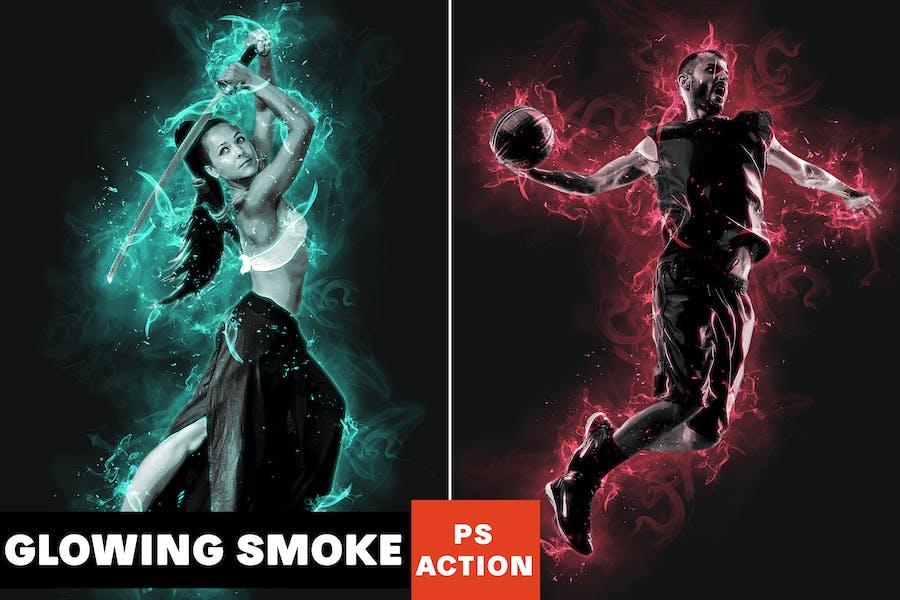 Glowing Smoke Photoshop Action