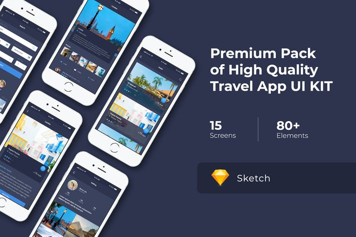 Thumbnail for Travel App UI KIT for Sketch