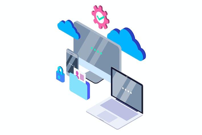 Thumbnail for Cloud Computing Isometric Illustration