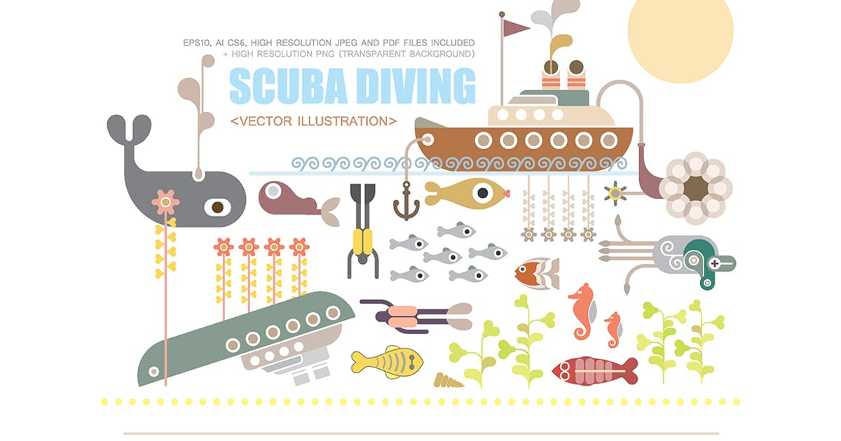 Download Scuba Diving vector illustration by danjazzia