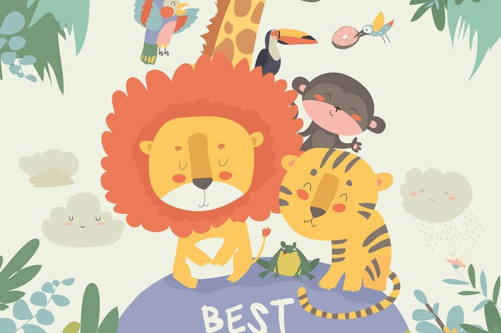 Cover Image For Happy jungle animals. Best friends. Vector