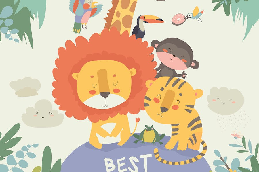 Happy jungle animals. Best friends. Vector