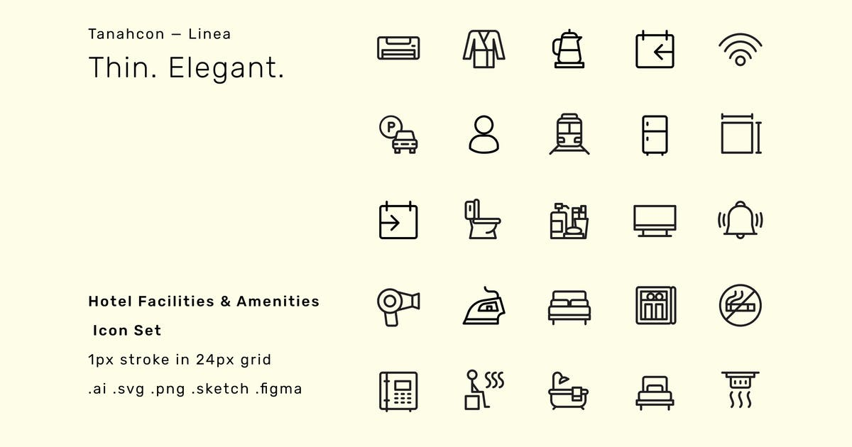 Download Hotel Facilities and Amenities Icon Set - Linea by TanahAirStudio