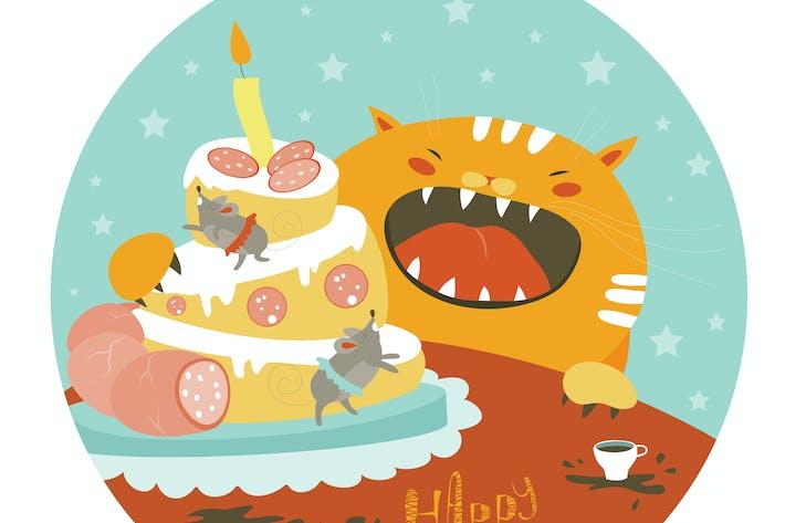 Thumbnail for Gato divertido y gran pastel con ratón. Vector