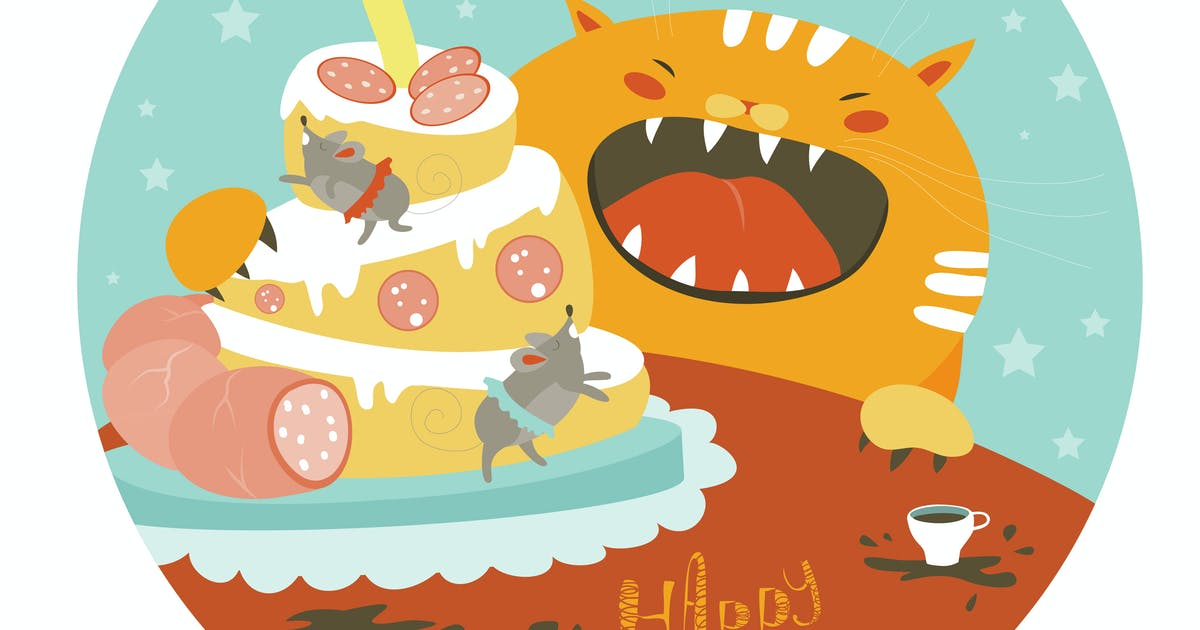 Download Funny cat and big cake with mouse. Vector by masastarus