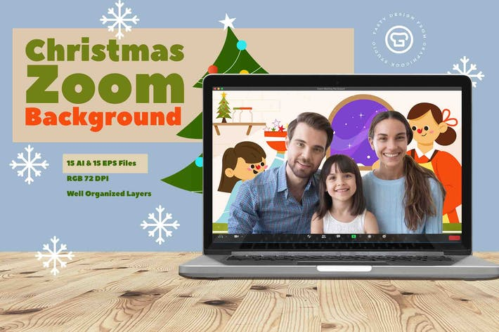 Thumbnail for Christmas Zoom Background Template