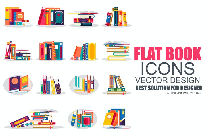 Cover Image For Flat Books Icons