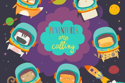 Cute animals in space. Funny animals wearing space
