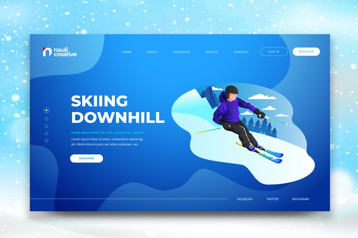 Thumbnail for Skiing Downhill Web PSD and AI Vector Template