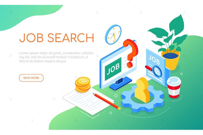 Thumbnail for Job search - modern colorful isometric web banner