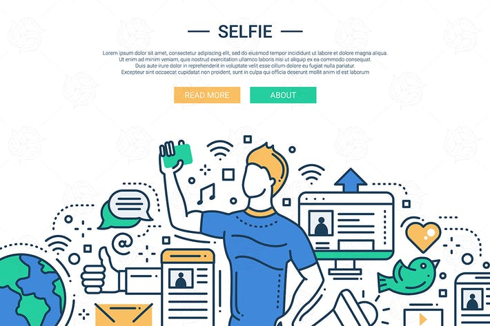 Thumbnail for Selfie - illustration de style de conception de ligne