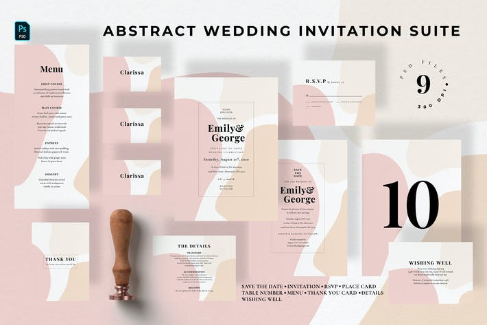 Thumbnail for Abstract Wedding Invitation Suite