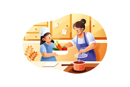 Mom and children cooking in the kitchen
