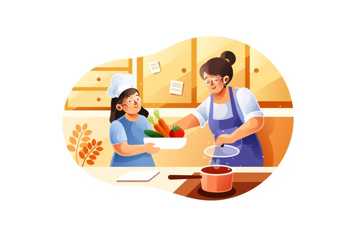 Thumbnail for Mom and children cooking in the kitchen