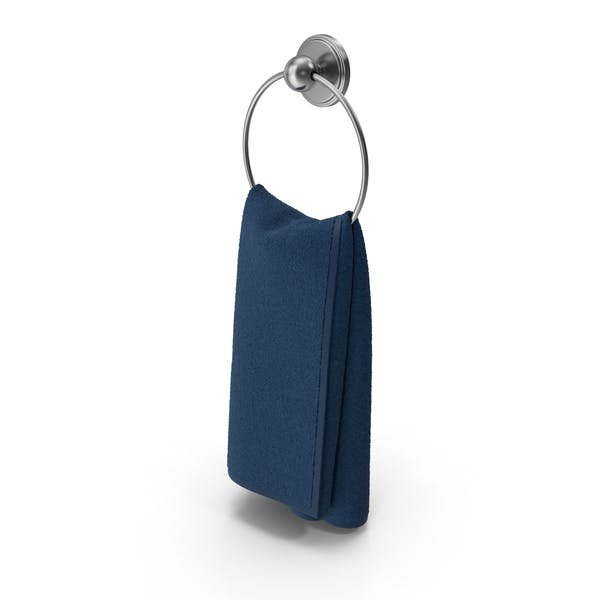 Steel Towel Ring with Blue Towel