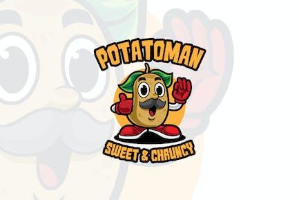 Potato Man Cartoon Logo Mascot