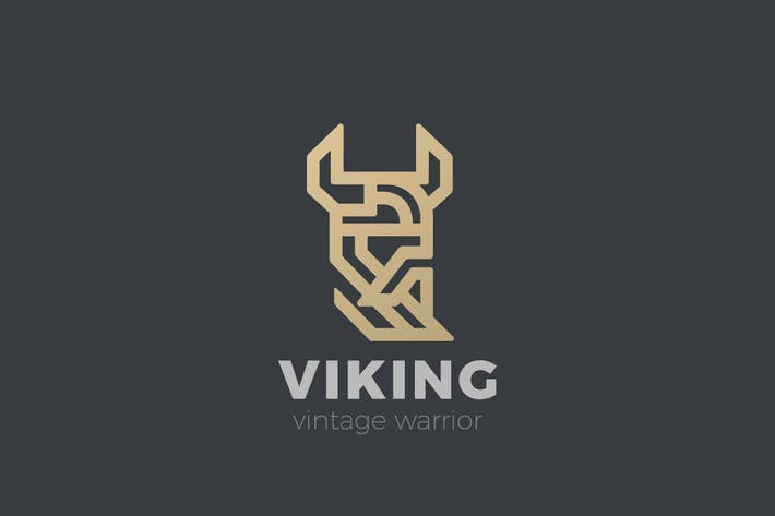 Thumbnail for Logo Viking Warrior Head Luxury Linear style