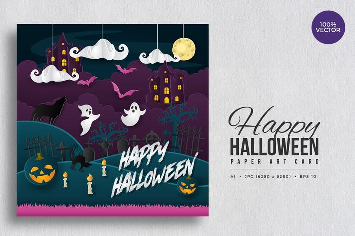 Thumbnail for Happy Halloween Paper Art Vector Card Vol.4