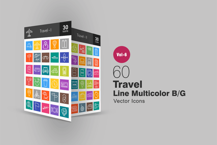 Thumbnail for 60 Travel Line Multicolor B/G Icons