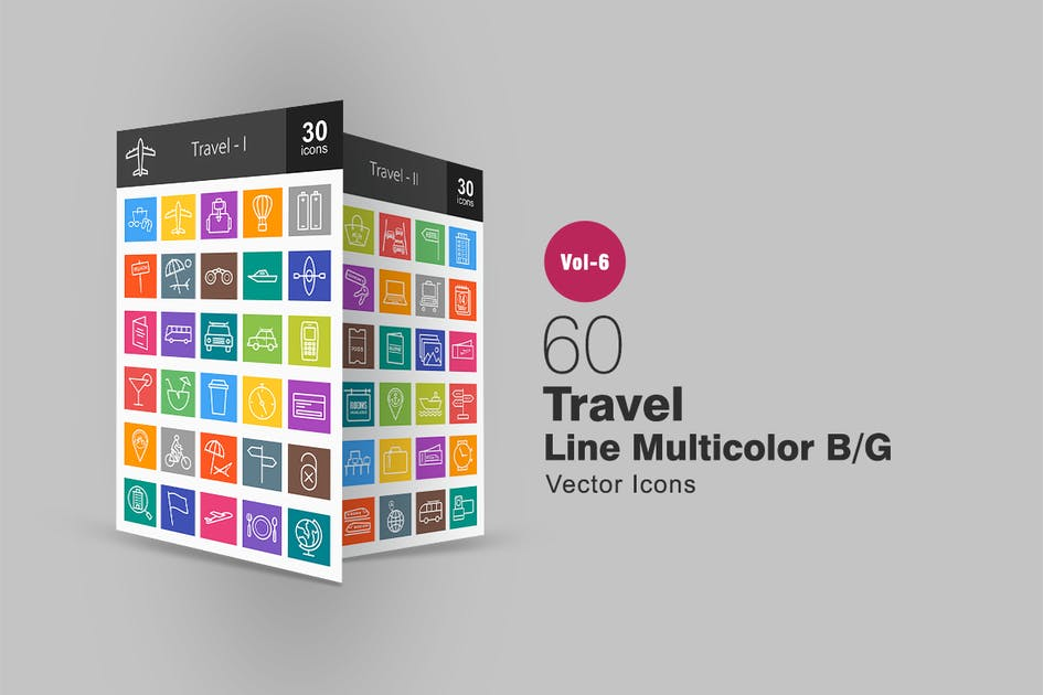 Download 60 Travel Line Multicolor B/G Icons by IconBunny