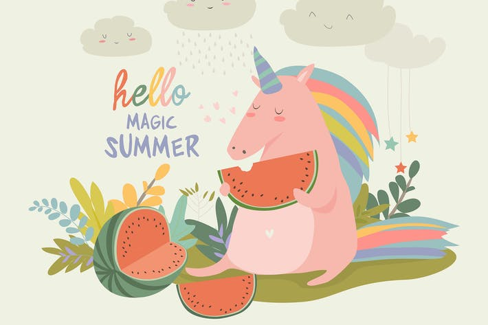 Thumbnail for Cute unicorn with watermelon. Hello summer. Vector