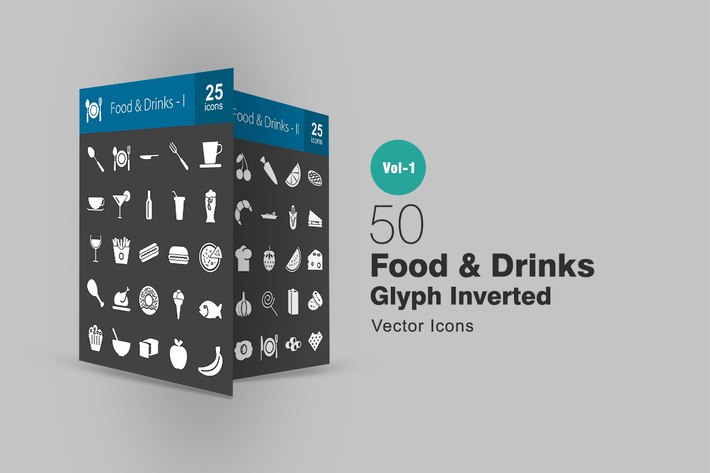 Thumbnail for 50 Food & Drinks Glyph Inverted Icons