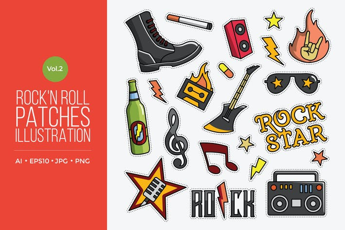 Thumbnail for Rock And Roll Vector Patches Vol.2