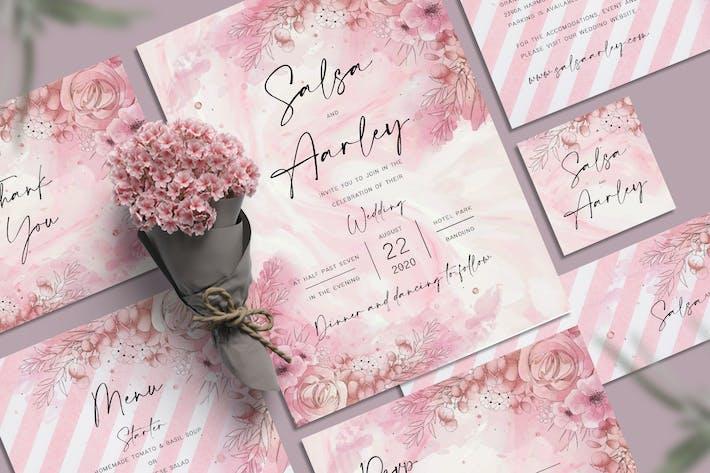 Thumbnail for Pink Flower Wedding Invitation Set