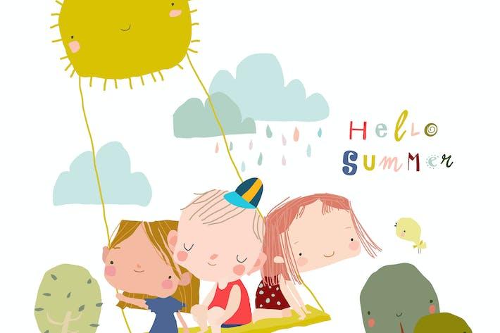 Happy Children swinging swing on rays of sun.
