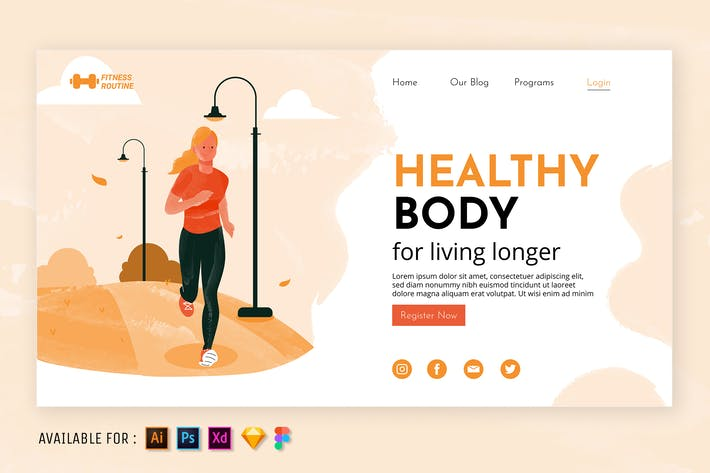 Thumbnail for Healthy Body  - Watercolor Web Illustration