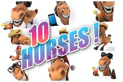 10 lustige Cartoon-Pferde!