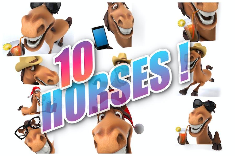 10 fun cartoon Horses !