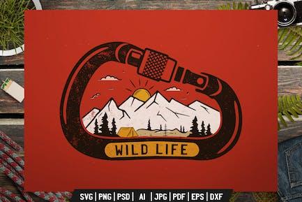 Wild Life Logo, Adventure Retro Print, Camp Shirt