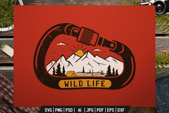 Cover Image For Wild Life Logo, Adventure Retro Print, Camp Shirt