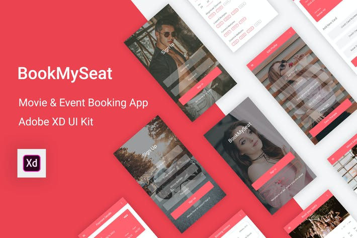 Thumbnail for BookMySeat - Movie & Event Booking App in Adobe XD