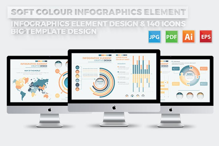 Thumbnail for Soft Colour Infographics Elements Design