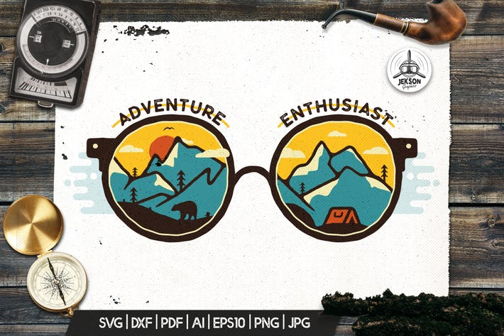 Thumbnail for Vintage Adventure Logo, Travel Badge Camp Patch