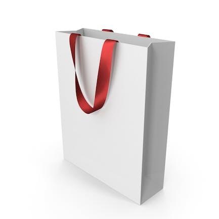 Белая упаковочная сумка с красными ручками