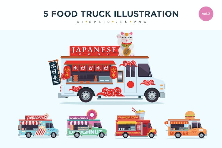 Cover Image For 5 Food Truck Vector Illustration Set 2