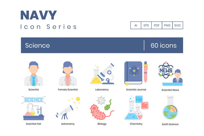 Thumbnail for 60 Science Icons | Navy Series