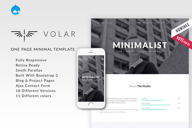 Volar | One Page Minimal Parallax Drupal Theme - product preview 0