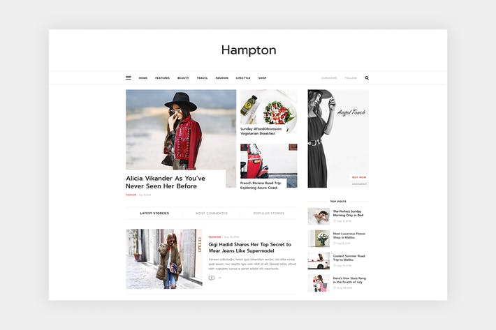Thumbnail for Hampton - Stylish Magazine Template