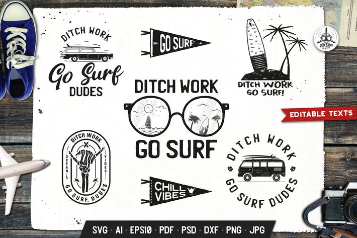 Thumbnail for Surfing Retro Logos Designs, Beach TShirt Prints