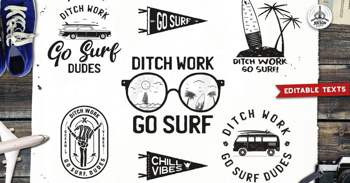 Download Surfing Retro Logos Designs, Beach TShirt Prints by JeksonJS