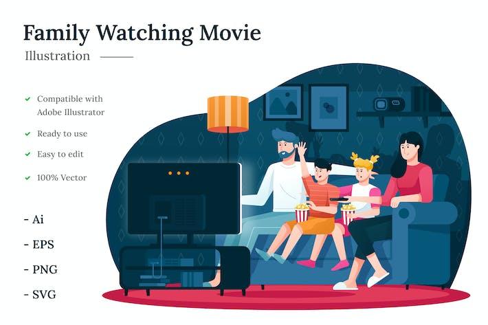Thumbnail for Familie schaut sich Filmillustration an