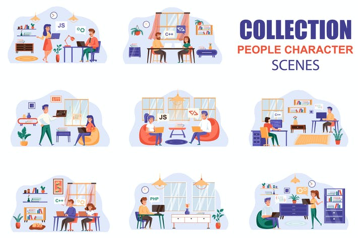 Code Testing People Character Scenes Kit