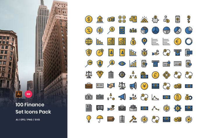 Thumbnail for 100 Finance Icons Pack